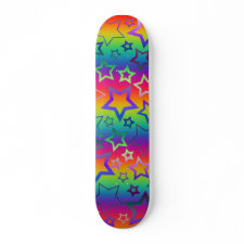 Psychedelic Rainbow Stars skateboard