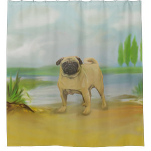 Pug dog by the river art shower curtain