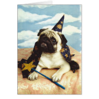 Pug Dog Wizard Magician Card