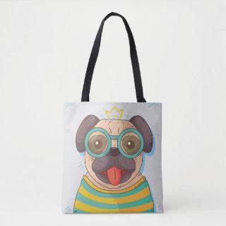 Pug with glasses tote bag