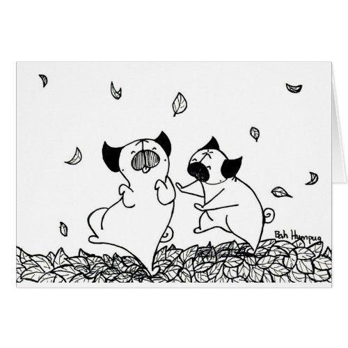 Pugs Dancing in Leaves