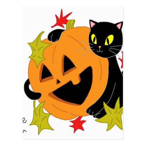 Pumpkin and Cat 2 Postcard