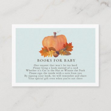 Pumpkin Autumn Leaves Baby Blue Books for Baby Enclosure Card
