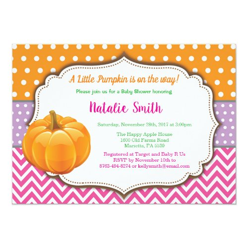 Pumpkin Baby Shower Invitation Fall Autumn Girl