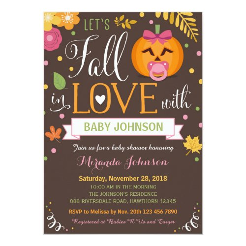 Pumpkin Baby Shower, Let's Fall In Love Invitation