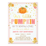 Pumpkin Birthday invitation Pink First Birthday