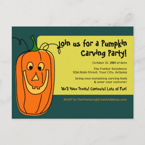 Pumpkin Carving Party Invitation Postcard
