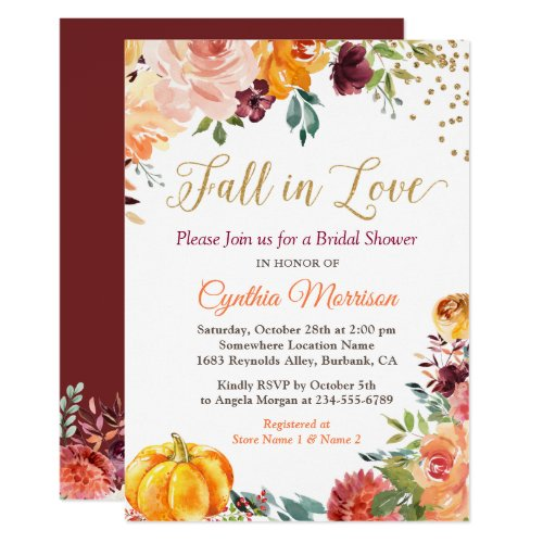 Pumpkin Fall in Love Fall Floral Bridal Shower Invitation