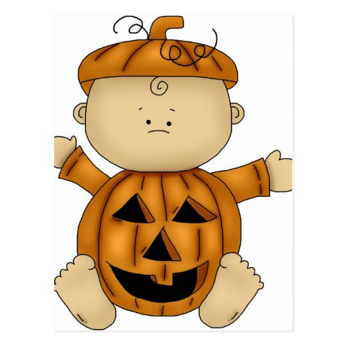 Pumpkin Halloween Costume on Baby Postcard
