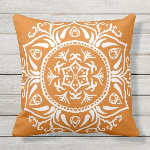 Pumpkin Pie Mandala Throw Pillow
