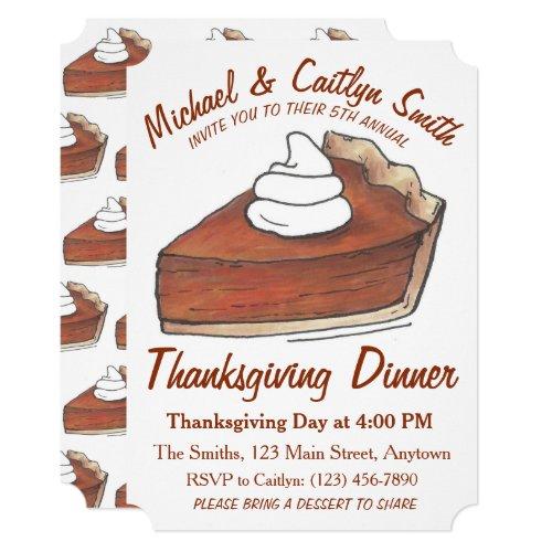 Pumpkin Pie Slice Thanksgiving Dinner Party Invitation