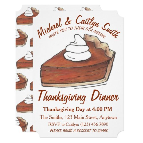 Pumpkin Pie Slice Thanksgiving Dinner Party Invitation