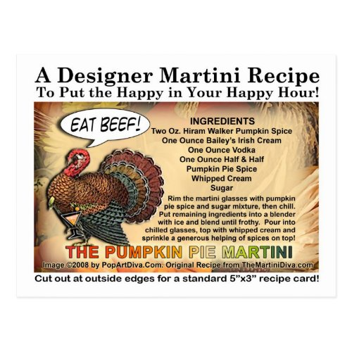 Pumpkin Pie Thanksgiving Martini Recipe Postcard
