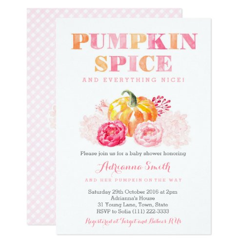 pumpkin spice baby shower, fall pumpkin plaid invitation