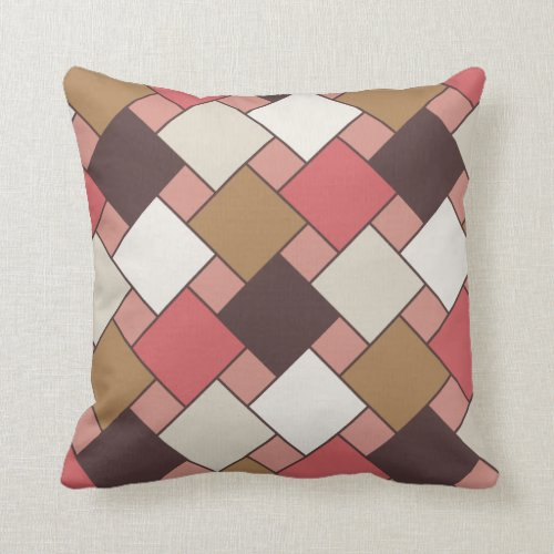 Pumpkin Spice Weave Pattern Throw Pillow