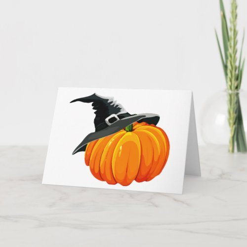 Pumpkin with Witch Hat Card