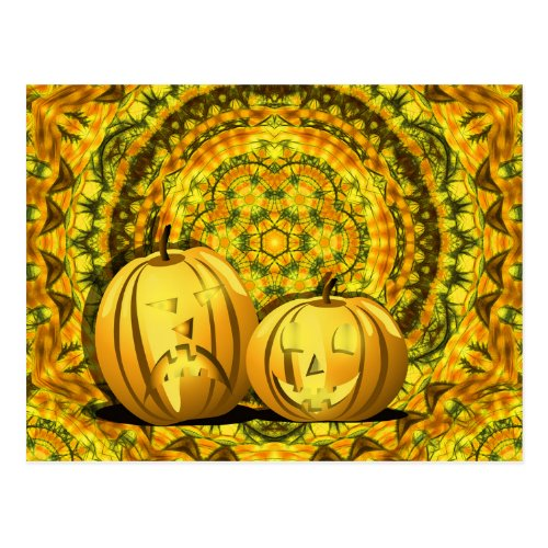 Pumpkins and kaleidoscope horizontal postcard
