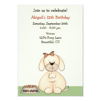 Puppy Dog Birthday Invitation for Girls