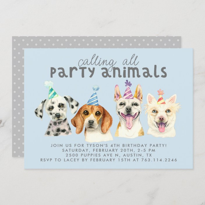 puppy dog party animals birthday invitation zazzle com