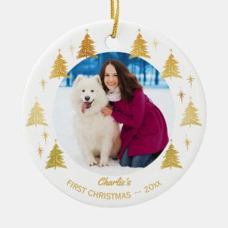 Puppy Dogs First Christmas - Custom Pet Photo Ceramic Ornament