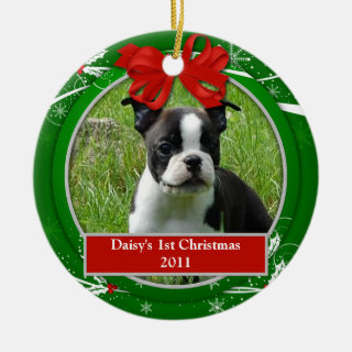 Puppy Kitten 1st Christmas Red Green Holly Berries Ceramic Ornament