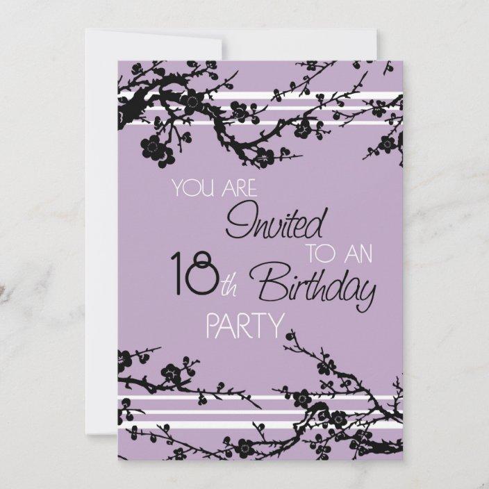 purple 18th birthday party invitation card zazzle com