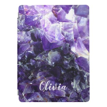 Purple amethyst Personalized Name iPad Pro Cover
