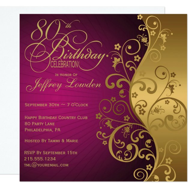 Purple And Gold Bridal Shower Invitations