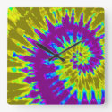 Purple and Gold Spiral Tie Dye Clock
