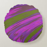Purple and Green Color Swish Abstract Round Pillow