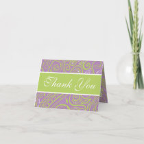 purple and lime paisley wedding theme greeting card