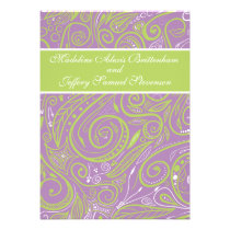 purple and lime paisley wedding theme personalized announcements
