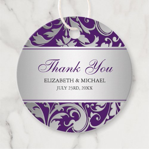Purple and Silver Damask Swirls Wedding Thank You Favor Tags