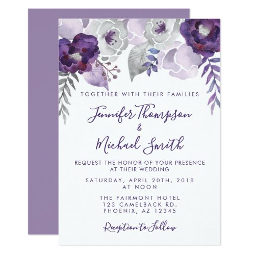 Purple and Silver Watercolor Floral Wedding Invitation