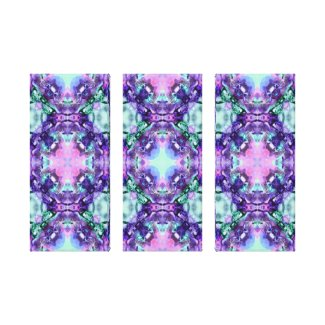 Purple and Turquoise Hippy Fractal Pattern wrappedcanvas