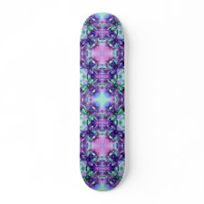 Purple and Turquoise Hippy Fractal Pattern skateboard