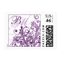 Purple and White Abstract Floral Wedding Postage