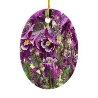 Purple and White Columbines Ornament ornament