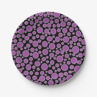 Purple and White Polka Dots Paper Plates | Zazzle