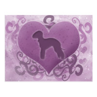 Purple Bedlington Terrier Valentine Postcard