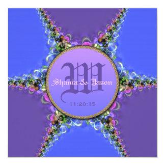 Purple Blue Lace Monogram Wedding Invitations