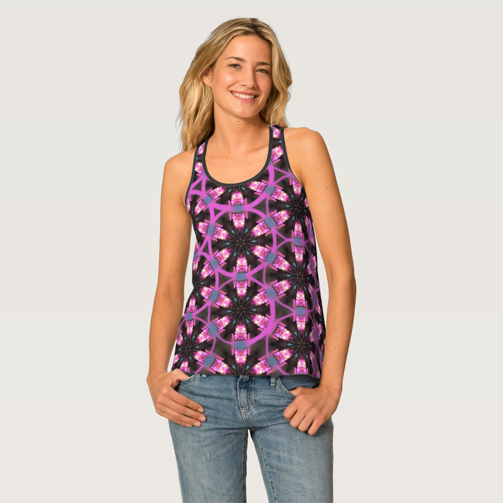 Purple & Burgundy Playful Patterned  Tank Top