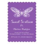 Purple Butterfly Sweet Sixteen Invitation