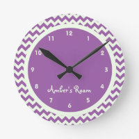 Purple Chevron Personalized Kid's Bedroom Round Wall Clock
