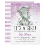 Purple Elephant Girl Baby Shower Invitation