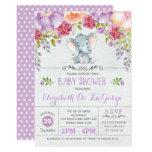 Purple Floral Elephant Baby Girl Shower Invitation