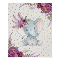Purple Floral Elephant Nursery Art Boho Decor Sign ...