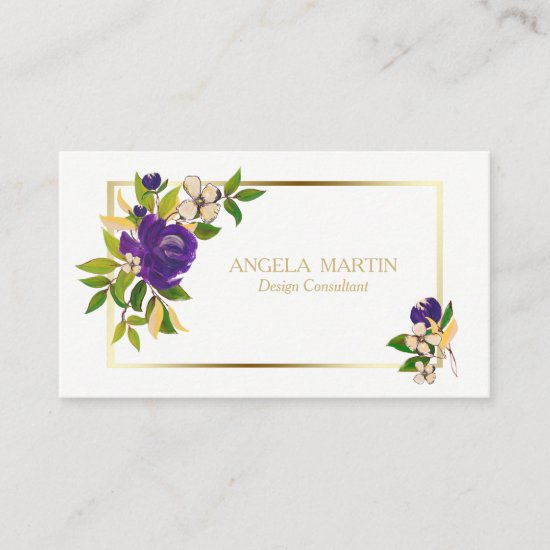 Purple Floral Gold Frame Professional Business Card