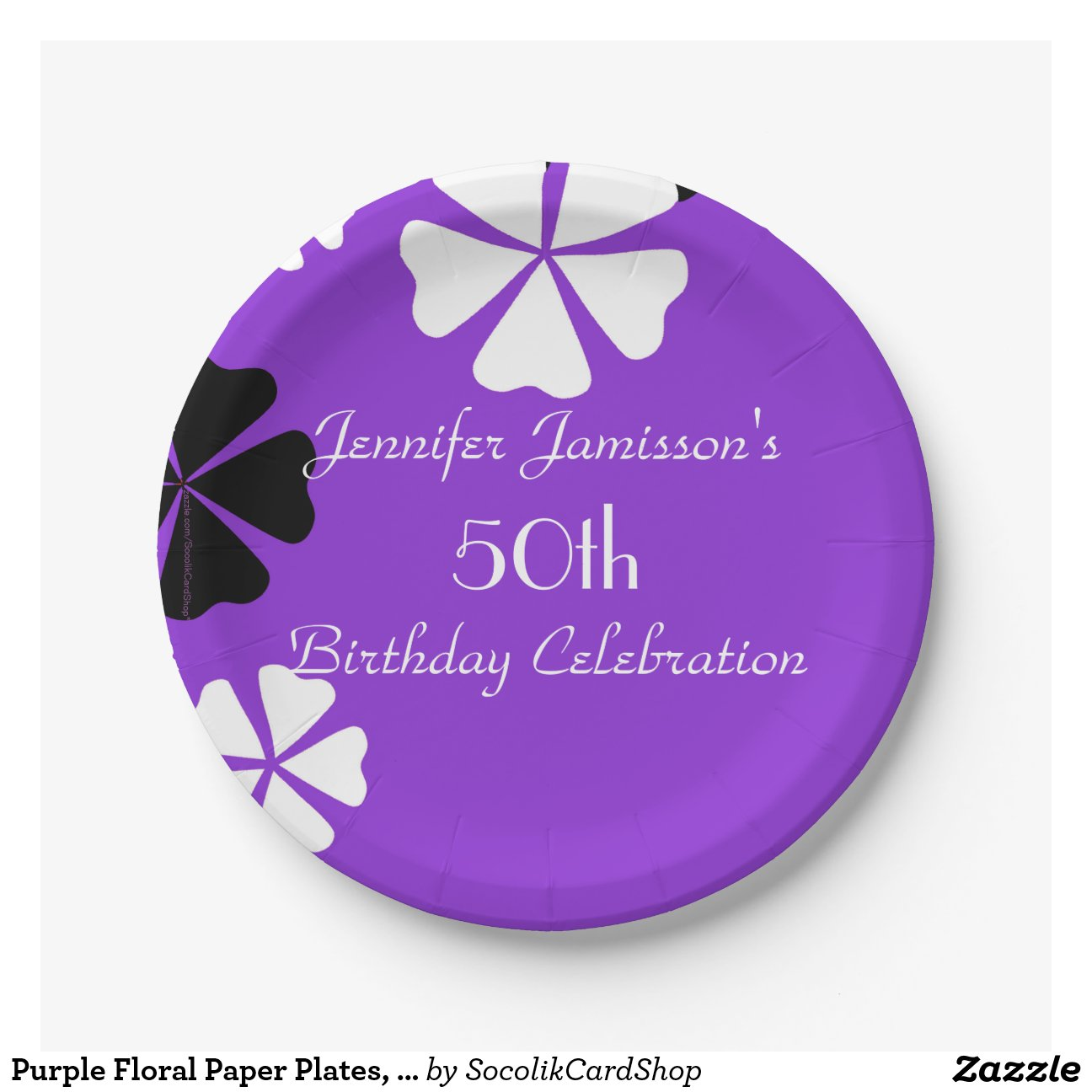 Purple Floral Paper Plates 50th Birthday Party 7