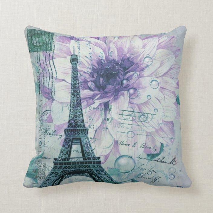 purple floral vintage paris eiffel tower throw pillow zazzle com